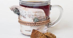 Chaga Pilz Tee im Glas mit Brocken auf weissem Hintergrund